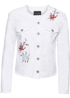 Куртка джинсовая с цветочной вышивкой (белый) Bonprix