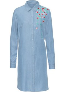 Платье рубашечного покроя с вышивкой (голубой) Bonprix