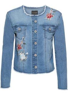 Куртка джинсовая с цветочной вышивкой (голубой) Bonprix