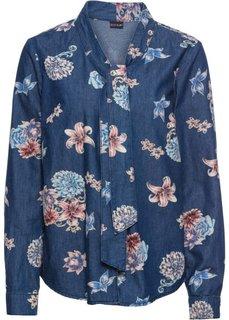 Блузка из денима, с принтом и бантом (темный деним) Bonprix