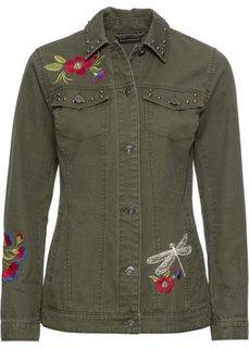 Куртка короткая с вышивкой (темно-оливковый) Bonprix
