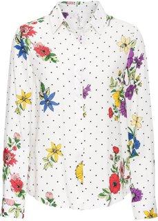 Блузка в цветочек (кремовый в горошек) Bonprix
