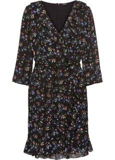 Платье из шифона с воланами (черный в цветочек) Bonprix