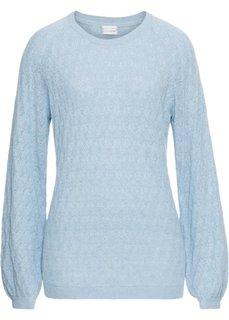 Пуловер с ажурным узором (синий пастельный) Bonprix