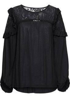 Рубашка с кружевом (черный) Bonprix