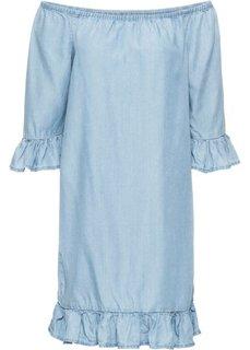 Платье с воланами из тенселя (голубой) Bonprix