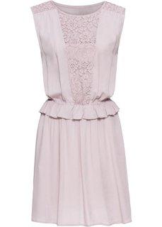 Платье с кружевной вставкой и воланом (розовый) Bonprix