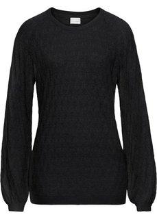 Пуловер с ажурным узором (черный) Bonprix