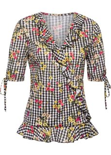 Блузка с цветочным принтом (черный/белый в клетку) Bonprix