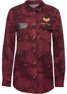 Блузка с карманом, украшенным пайетками (красный) Bonprix