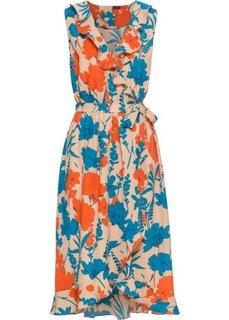 Платье с запахом и воланами (песочный с цветочным рисунком) Bonprix