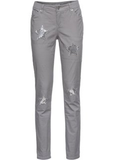 Брюки-дудочки со звездами (серый) Bonprix