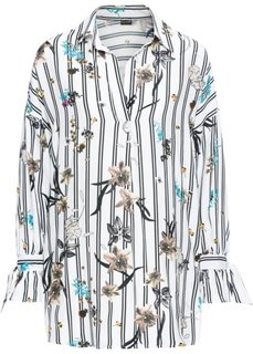 Блузка удлиненного покроя оверсайз (кремовый/черный с рисунком) Bonprix
