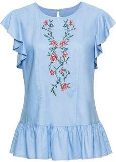 Блузка с вышивкой и воланами (нежно-голубой) Bonprix