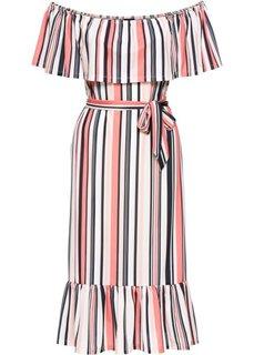 Платье с поясом и вырезом-кармен (песочный/мандариновый в полоску) Bonprix