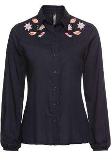 Блузка с вышивкой (синий) Bonprix
