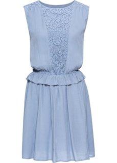 Платье с кружевной вставкой и воланом (дымчато-синий) Bonprix