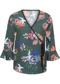 Блузка с эффектом запаха (зеленый в цветочек) Bonprix
