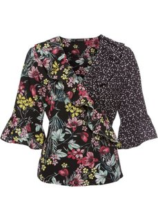 Блузка с запахом и воланами (черный/цветной с узором) Bonprix