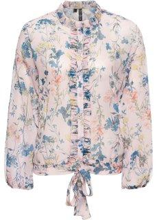 Блузка с воланами (розовый с рисунком) Bonprix
