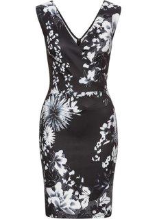Платье с цветочным принтом (черный/белый) Bonprix