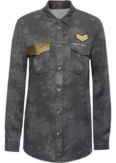 Блузка с карманом, украшенным пайетками (серый) Bonprix