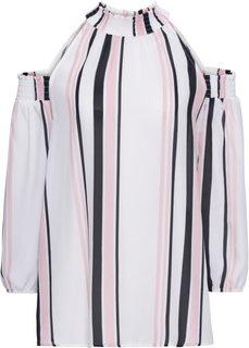 Блузка с вырезами (белый/розовый/черный в полоску) Bonprix
