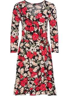 Платье с эффектом запаха (черный с рисунком больших цветов) Bonprix