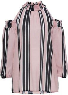 Блузка с вырезами (розовый/черный/белый в полоску) Bonprix