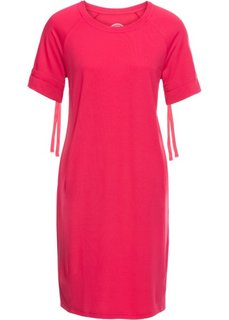 Платье из легкого трикотажа, короткий рукав (ярко-розовый) Bonprix