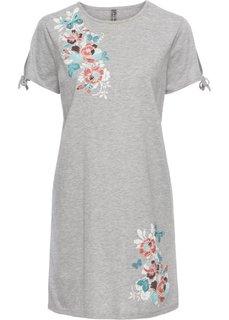 Платье из трикотажа с цветочным принтом (серый) Bonprix