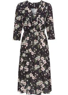 Платье с цветочным принтом (черный с рисунком) Bonprix