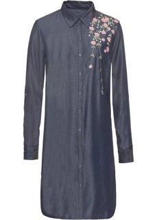 Платье рубашечного покроя с вышивкой (темно-синий) Bonprix