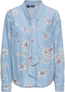 Блузка из денима, с принтом и бантом (нежно-голубой выбеленный) Bonprix