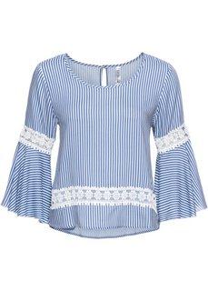Блузка с воланами (синий/белый в полоску) Bonprix