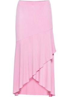Юбка асимметричная (цветочный ярко-розовый) Bonprix
