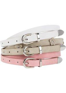 Ремень (3 в наборе) (белый/хаки/розовый) Bonprix