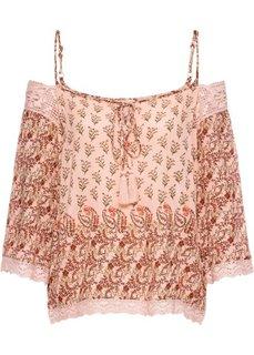 Блузка с кружевной отделкой (розовый с узором) Bonprix
