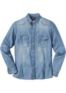 Джинсовая рубашка с длинными рукавами (голубой выбеленный «потертый») Bonprix