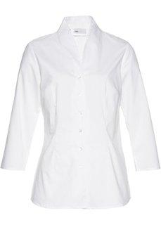 Блузка с шалевым воротом (белый) Bonprix