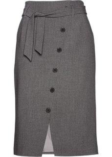 Юбка-карандаш с текстильным поясом (серый меланж) Bonprix