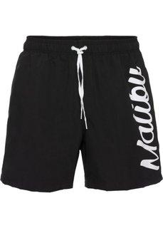 Мужские купальные шорты (черный с рисунком) Bonprix