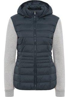 Куртка стеганая с трикотажными рукавами (ночная синь/серый меланж) Bonprix