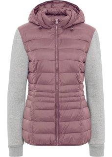 Куртка стеганая с трикотажными рукавами (фиолетовый матовый/серый меланж) Bonprix