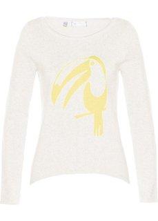 Пуловер с асимметричным низом (кремовый/лимонный) Bonprix