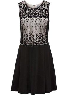 Платье с кружевом и бусинками (черный) Bonprix