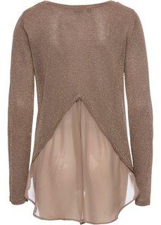 Пуловер с люрексом и шифоновой вставкой (медный металлик) Bonprix