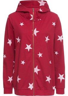 Куртка из трикотажа с капюшоном (красный чили/белый с рисунком) Bonprix