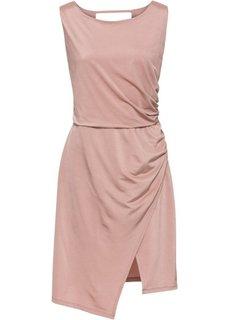 Платье из блестящего трикотажа (дымчато-розовый) Bonprix