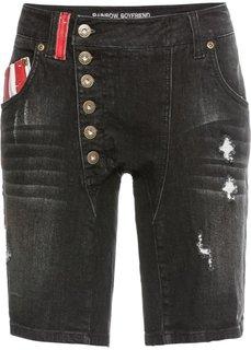 Шорты джинсовые (черный «потертый») Bonprix